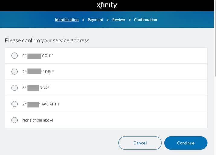 "The former ""in-home authentication"" portal for Comcast customers."