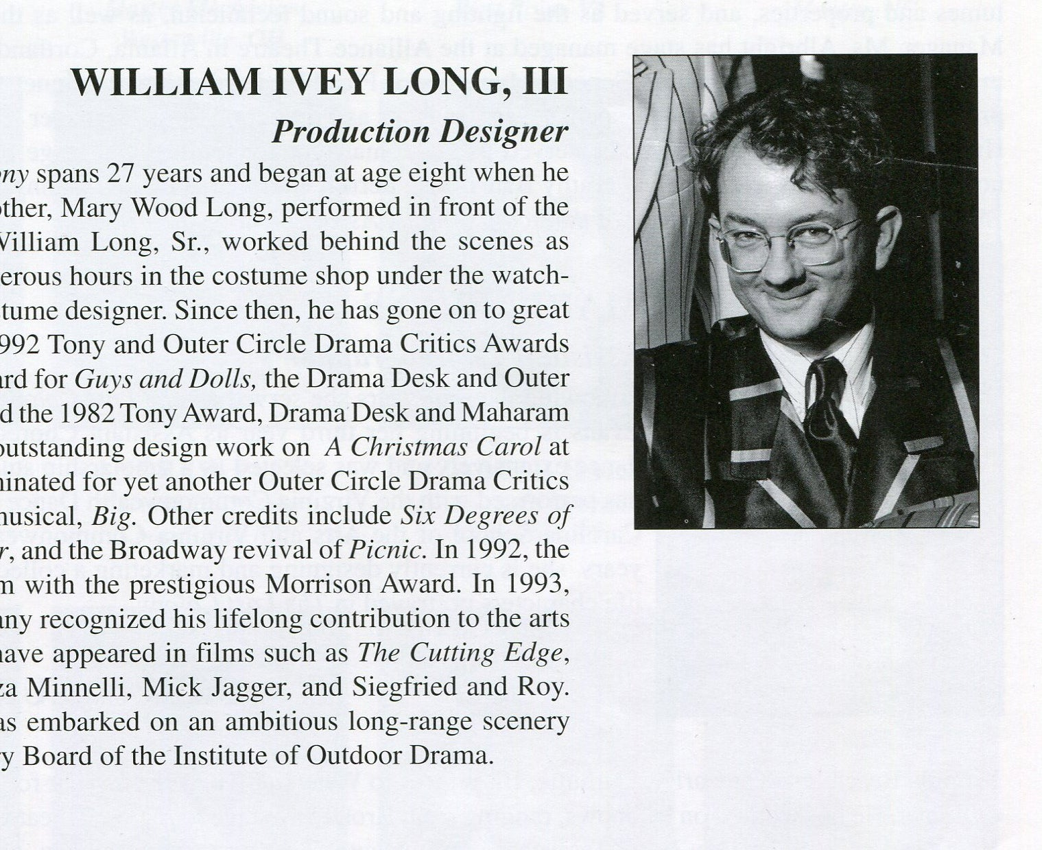 William Ivey Long's portrait and bio in The Lost Colony's 1996 program.