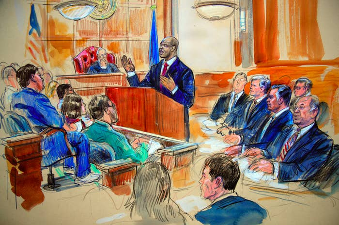 Assistant US Attorney Uzo Asonye delivers the government's opening statement before the jury and Judge T.S. Ellis III on July 31.