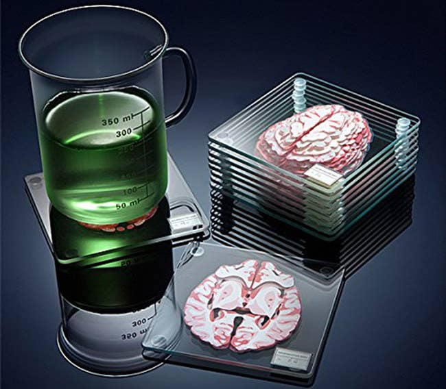 "The set includes 10 glass coasters (each 4""x4"") with brain slices printed on them. They should be hand-washed and are not microwave- or dishwasher-safe. See a promising review here.