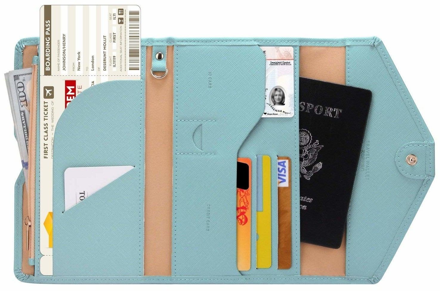 wallet holding cards, passport, and tickets