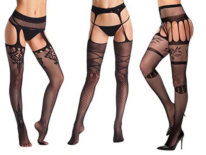 435b527e1bc Fishnet garter stockings as an alternative to fooling with the nonsense of  an actual garter belt.