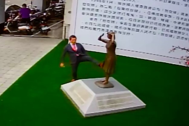 "A Japanese Man Appeared To Kick A Statue Dedicated To ""Comfort Women"" In Taiwan And People Are Pissed"