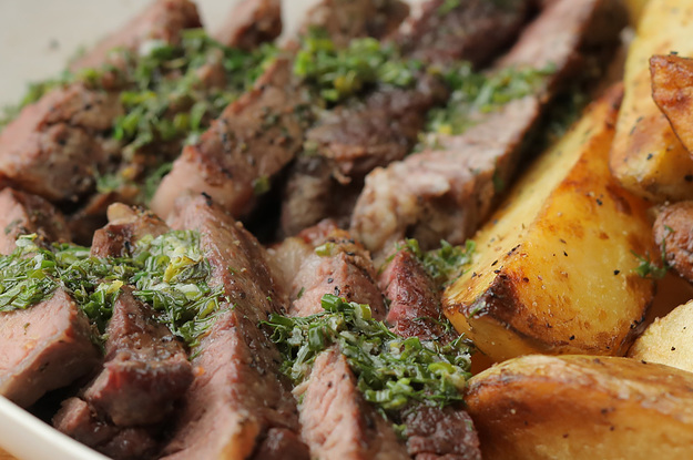 Grilled Angus Steak and Potato Wedges with Zesty Herb Butter