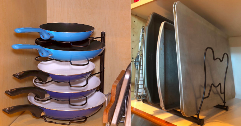 This $15 Pan And Lid Rack Will Bring Instant Organization To Your Kitchen