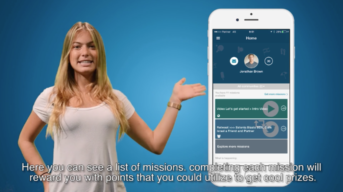 """A screengrab of an introductory video on the Act. IL app, which describes the opportunity to """"get cool prizes"""" for participating in missions."""