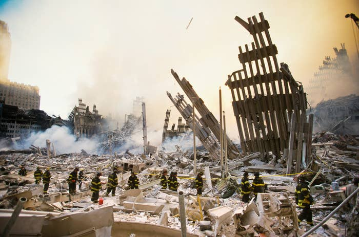 The rubble of the World Trade Center smolders following the Sept. 11 terrorist attack in New York City.