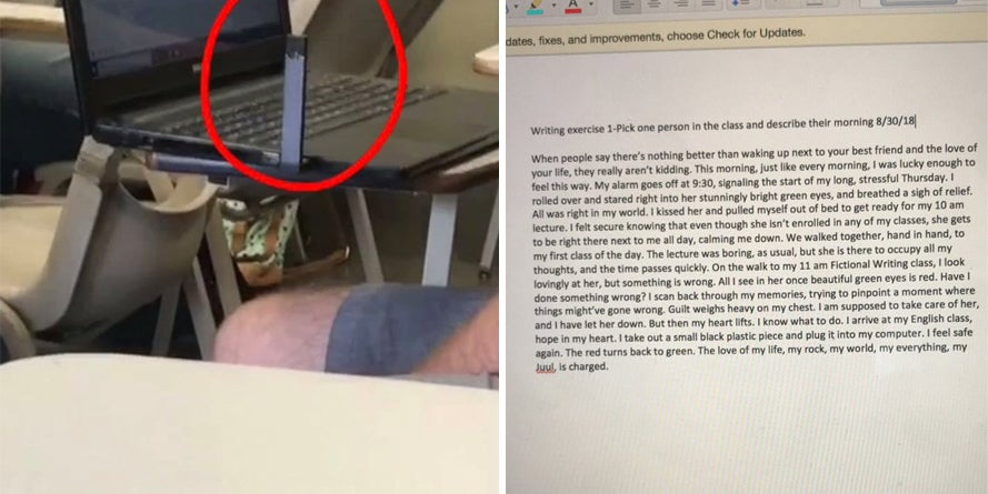 A College Student Was Inspired To Write An Essay About A Classmate  A College Student Was Inspired To Write An Essay About A Classmate Who  Boldly Charged His Juul In Class