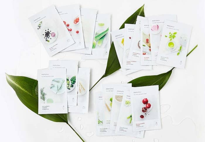 A variety of sheet masks in their packaging