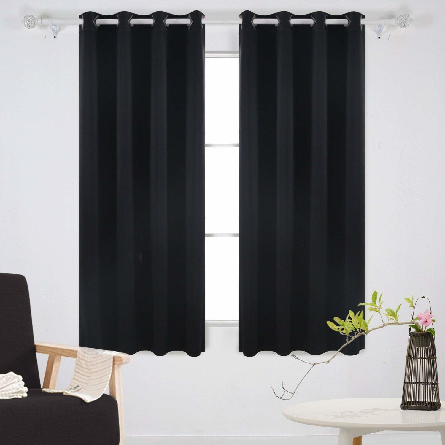 the blackout curtains on a window