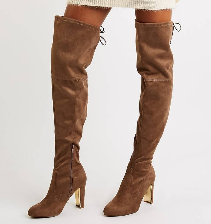 6ca54ce2150 A pair of faux suede over-the-knee boots that ll go great with that new  sweater dress you just bought and have been waiting on wearing until you  found the ...