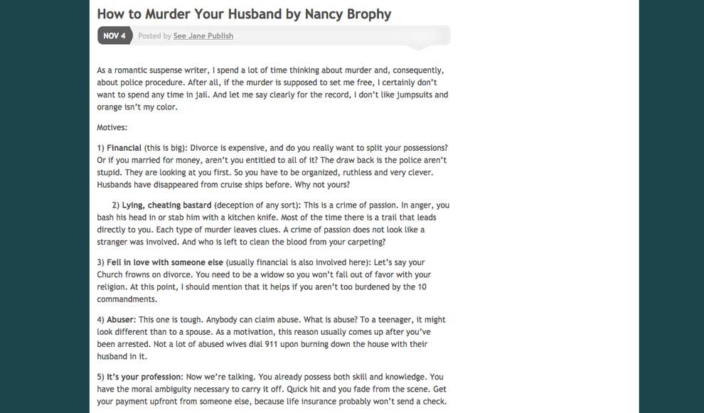 "How To Murder Your Husband"" Writer Arrested For Allegedly"