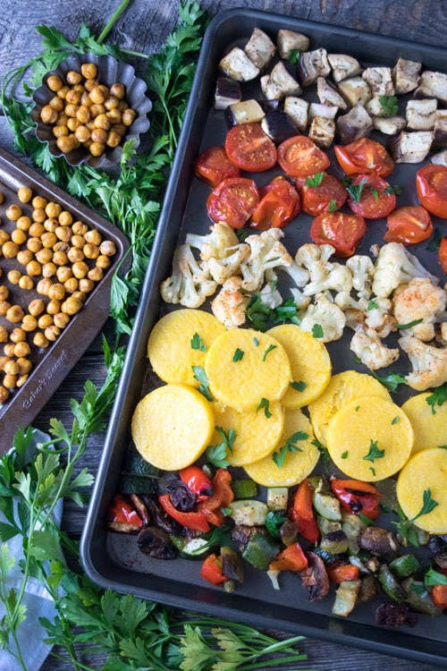 Eggplant, cauliflower, chickpeas, and polenta make this vegan meal oh so filling. Get the recipe here.