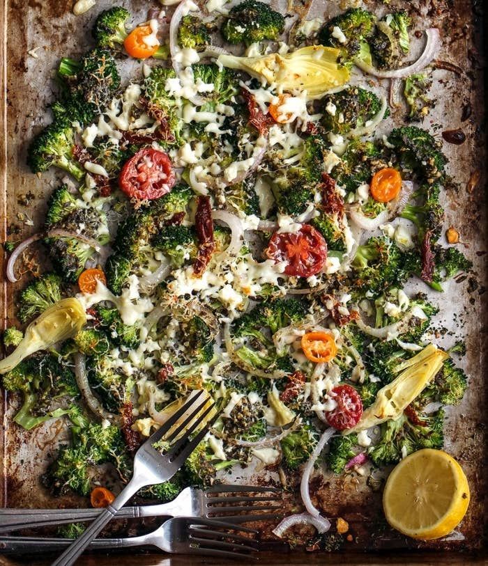 Even though this dish only needs to bake for 10 minutes, the smell of pesto, broccoli, and artichoke roasting will make you so hungry, you'll be eating it right off the pan. Get the recipe here.