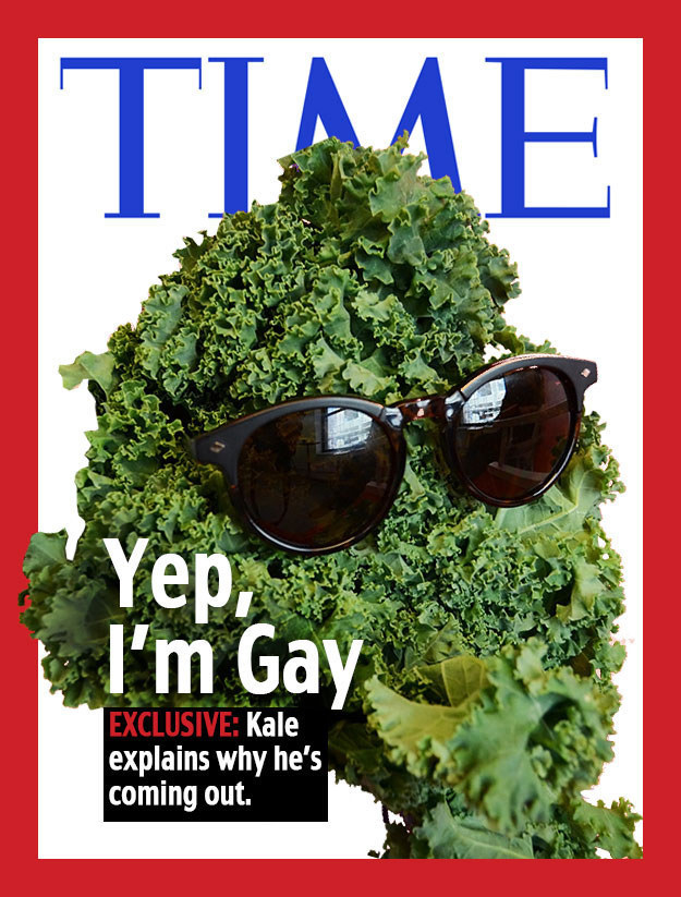 A Time magazine cover edited to feature kale coming out as gay