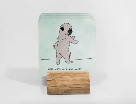 Get a set of six various pug coasters from Kazvare Made It on Etsy for $33.66.
