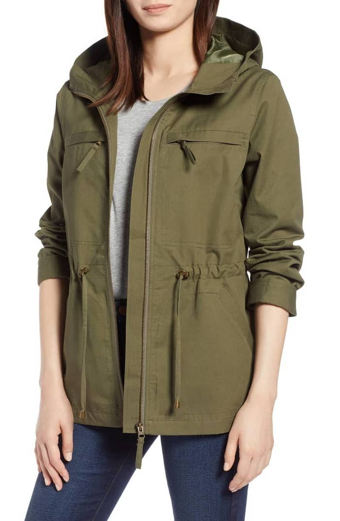 """Promising review: """"I LOVE THIS JACKET. I'm a 14W normally and the 1X was too big so re-ordered the XL. It fits perfectly with room and is a great length and color (ordered the green). I've been looking for a jacket like this for a few years."""" —akalilaPrice: $119 (available in sizes XS-XL, 2X-3X, and in green and khaki)"""