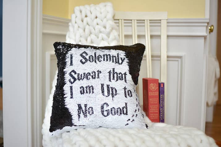 I'm not saying this would be a *secure* way to reveal your WiFi password to any guests, but it *would* be a fun way.Get it from Messy Bun Mommy Co. on Etsy for $22.49+ (available in black and silver, with or without a pillow insert).