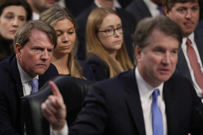 White House counsel Don McGahn listens as Supreme Court nominee Judge Brett Kavanaugh testifies before the Senate Judiciary Committee on Sept. 5.