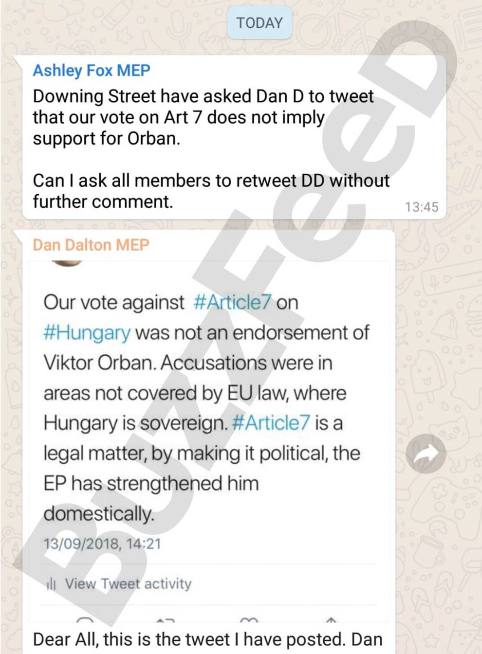 Leaked WhatsApps Show Downing Street Told Tory MEPs To Distance