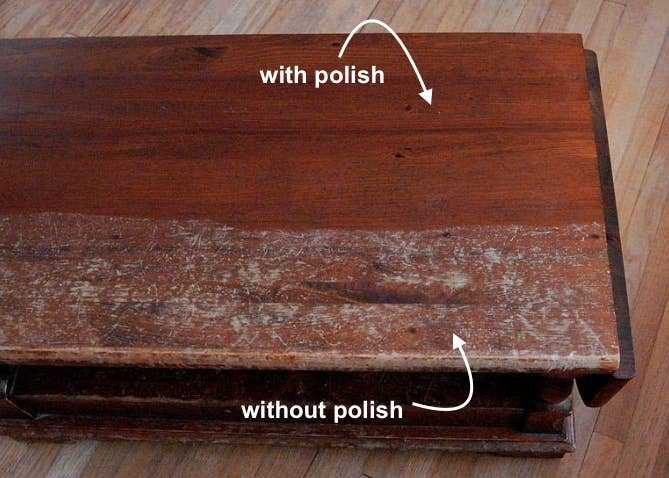 """reviewer photo of wood table looking clean on top labeled """"with polish"""" and scratched up on bottom labeled """"without polish"""""""