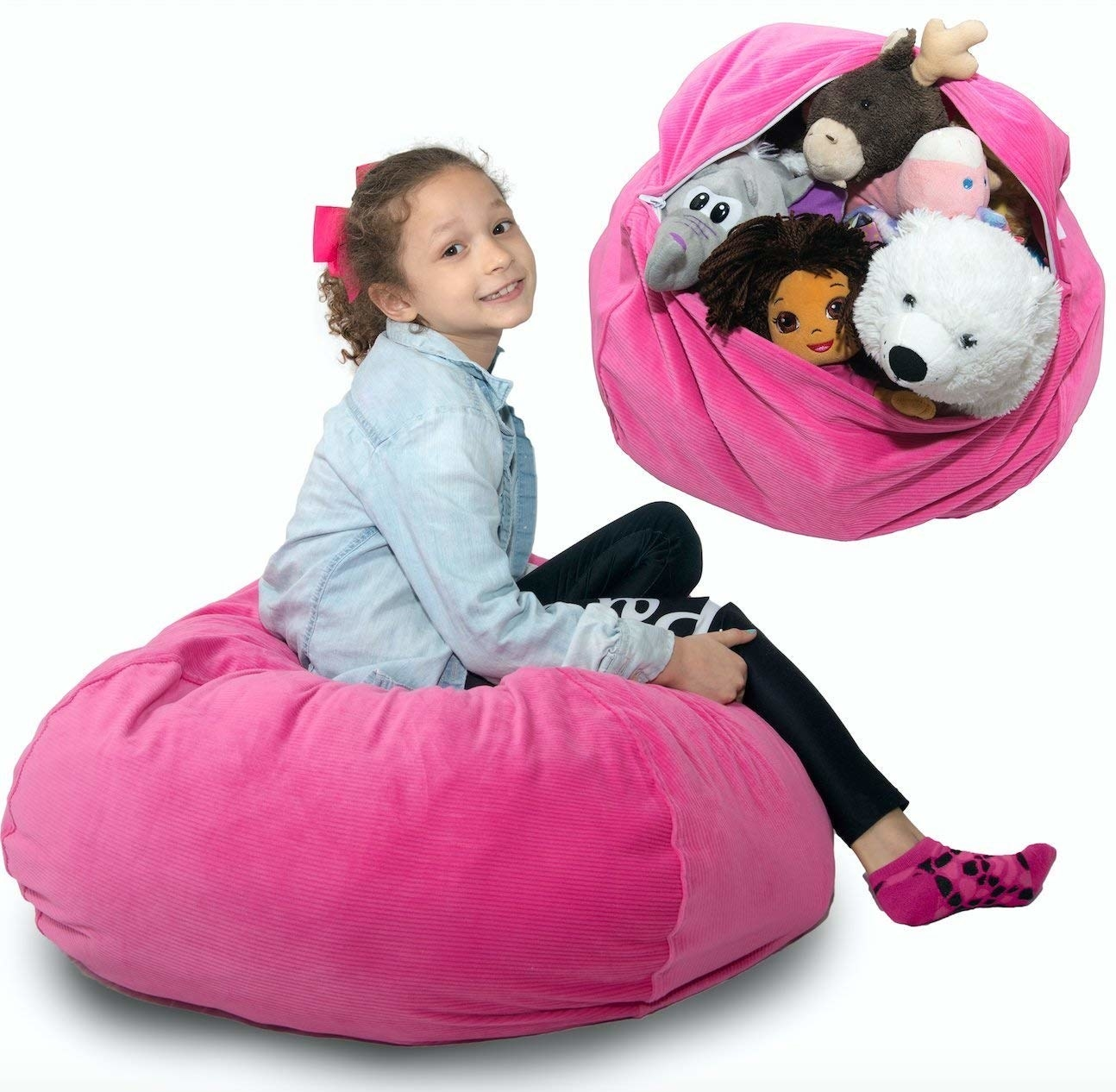 Child model sitting on the large beanbag chair, which can fit dozens of stuffed animals depending on the size