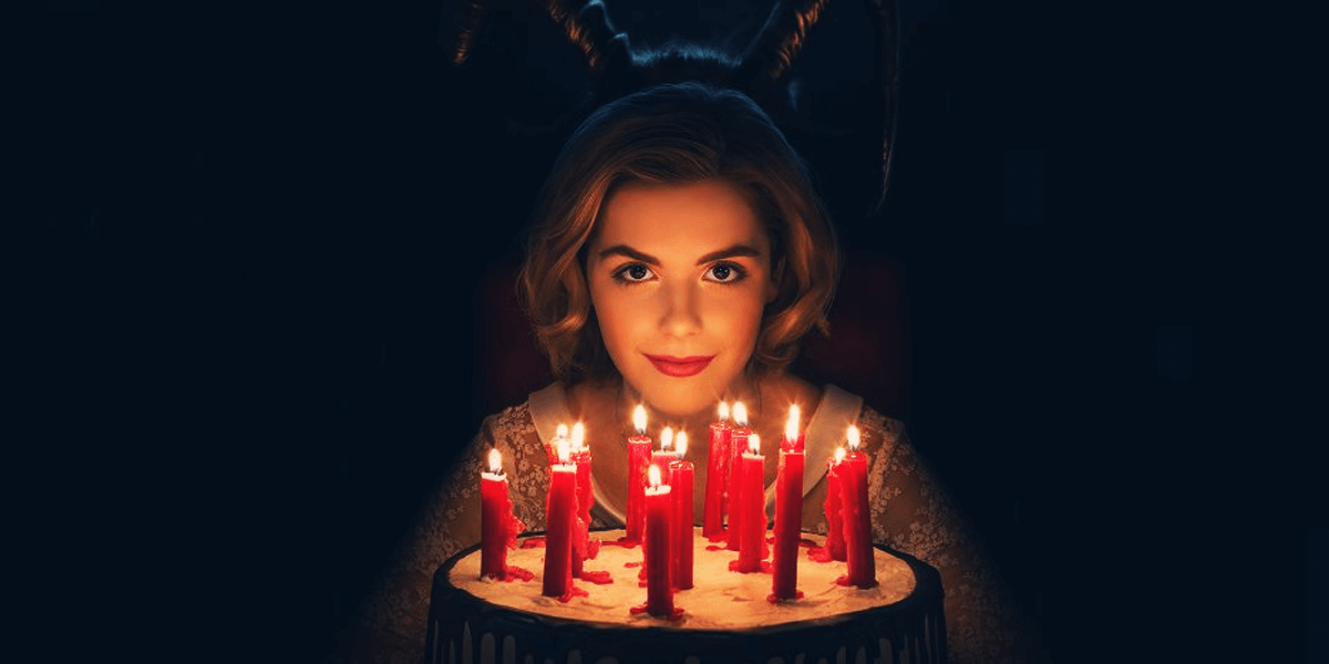 """Plot: """"A dark coming-of-age tale that follows Sabrina, as she wrestles to reconcile her dual nature as a half-witch, half-mortal while fighting evil forces.""""Starring: Kiernan Shipka, Jaz Sinclair, Michelle Gomez, Chance Perdomo"""