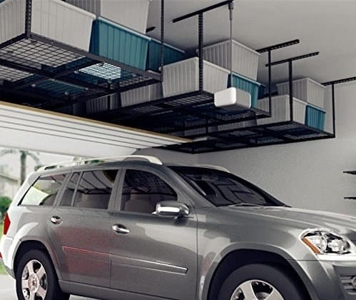 The storage racks hanging from the ceiling of a garage