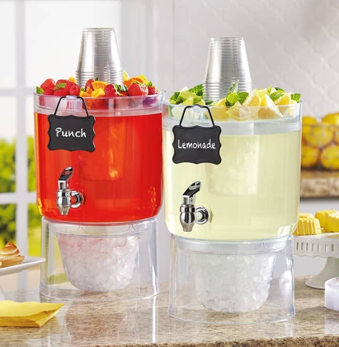 These dispensers include a compartment for ice with a detachable bottom that can act as an ice bucket. The top has storage space for fruit or other sweeteners. Get a set of two from Amazon for $36.95+ (available in larger quantities).