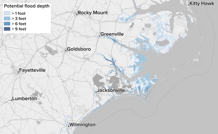 Potential storm surge flooding, measured in feet above ground level.