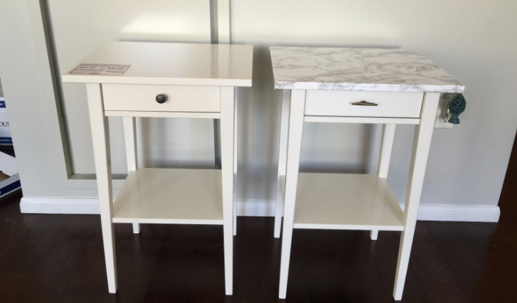 """""""I used this adhesive film to turn two cheap Ikea tables into less cheap looking Ikea tables because I'm not made of money but I would like others to believe I am. It's super simple to use and you get a ton of it for the price, so I was really pleased overall. The pattern actually looks like marble — not a weird pixel-y repetitive pattern so that's great as well."""" —Spencer House"""