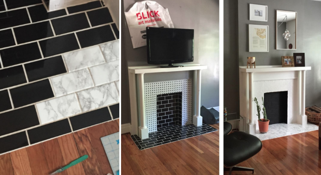 """""""I used a little more than one roll for a quick makeover on an ugly fireplace in a rental apartment. It's easy to cover the tiles with the film. It makes a huge difference for minimal effort/price."""" —Zhen"""