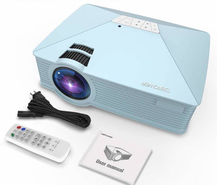 "This projector is compatible with a TV Box, an Amazon Fire TV Stick, a ChromeBook, PCs, laptops, tablets, Blue-ray DVD players, SD cards, USB flash drives, media players, iPads, iPhones, and Android Smartphones (an external Wi-Fi dongle is needed to connect with a phone).Promising review: ""This project has worked wonderfully for playing movies from my iPhone and iPad! I bought an Apple HDMI cord to lightning adapter and have not had any connectivity or display issues. I was pleasantly surprised at how loud the speakers are! I didn't even connect my external speakers when I played a movie with a small group of people in a medium-sized office. I love how small and portable this projector is and I got a great deal!"" —Matt MillerGet it from Amazon for $59.99 (available in three colors)."