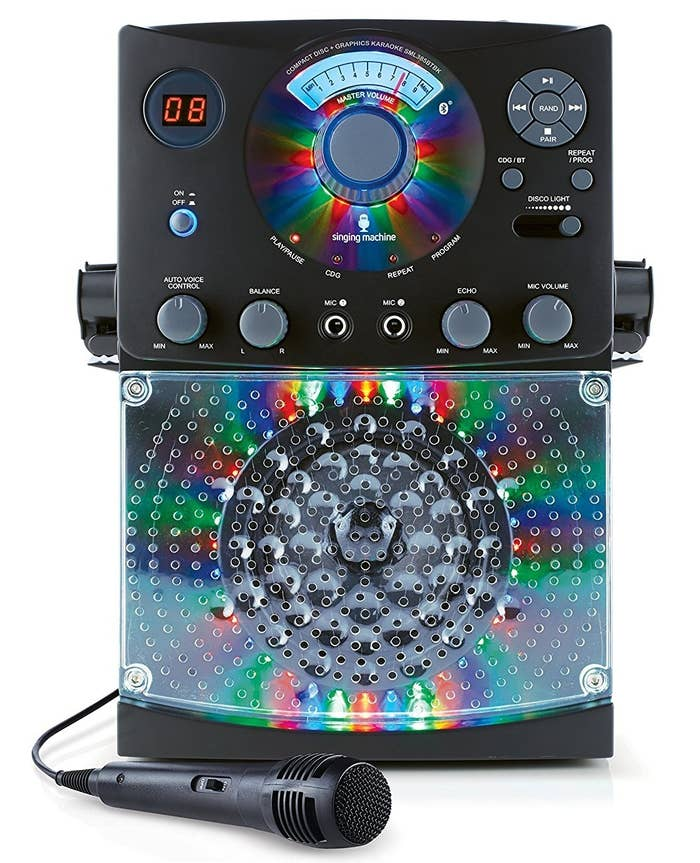 "This speaker is bluetooth compatible and has 54 LED lights.Promising review: ""This thing is awesome. My daughter got this for Christmas and we all had a little jam session last night. Even the adults were getting in there. The sound quality is really great and I love the colors this thing produces. It's a really fun karaoke machine that we will enjoy for a long time."" —Stacey YGet it from Amazon for $59.49+ (available in two colors, with one or two mics, and with Frozen or Moana CDs)."