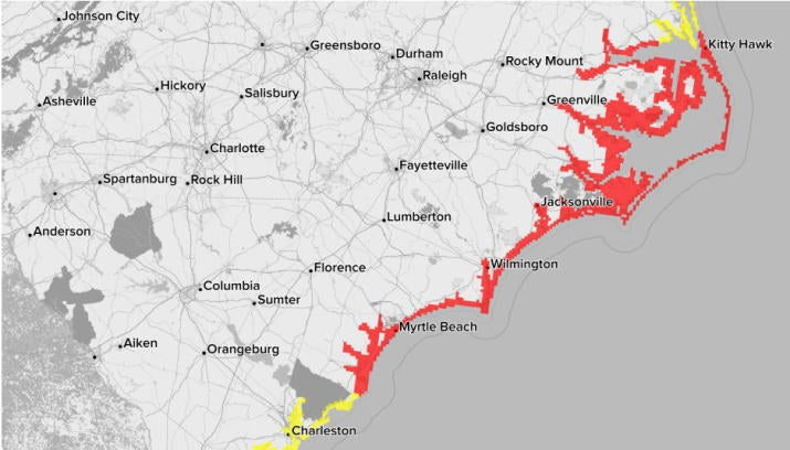 Storm surge warnings (red) and watches (yellow) for the Carolinas.