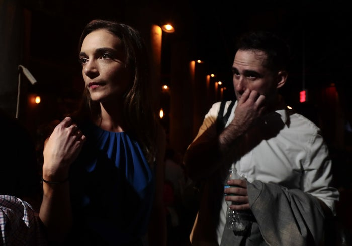 Julia Salazar waits to be interviewed after winning the Democratic primary Thursday.