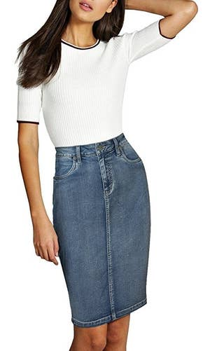 ff1df261037822 A denim skirt that's such a classic, basically everything in your closet  will work with it.