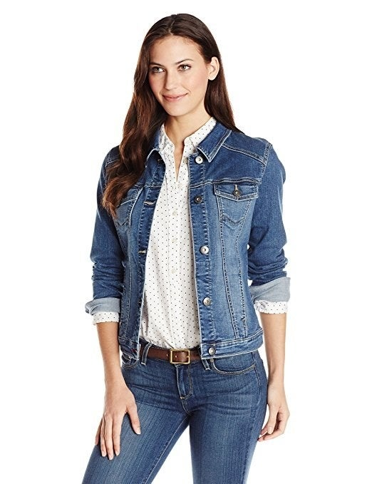 Get it from Amazon for $29.99+ (available in regular sizes S–XL and two washes) or a similar one for $32.99+ (available in plus sizes X–3X and two washes).And check out this men's classic denim jacket.