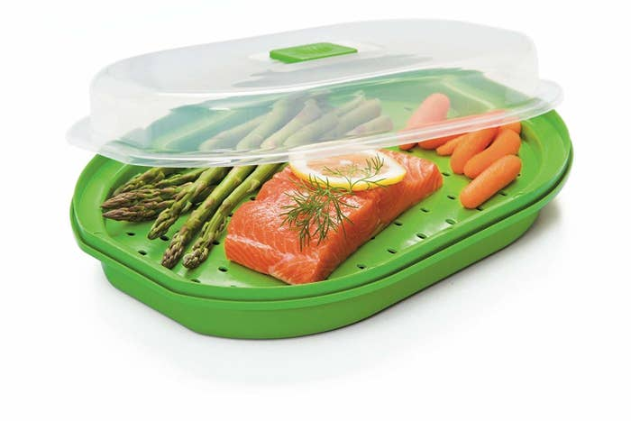 Just load in some salmon (or other fish) and a few sliced vegetables, and you'll have a complete meal ready in ten minutes, including prep time. Get it on Amazon for $9.99.