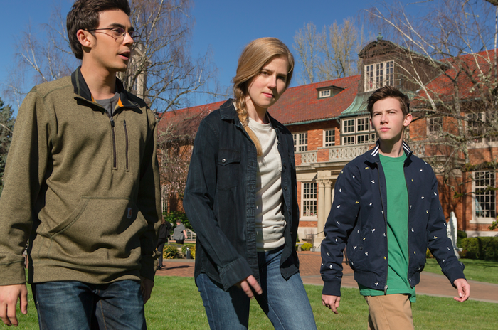 Tyler Alvarez as Peter, Taylor Dearden as Chloe, and Griffin Gluck as Sam in American Vandal Season 2.