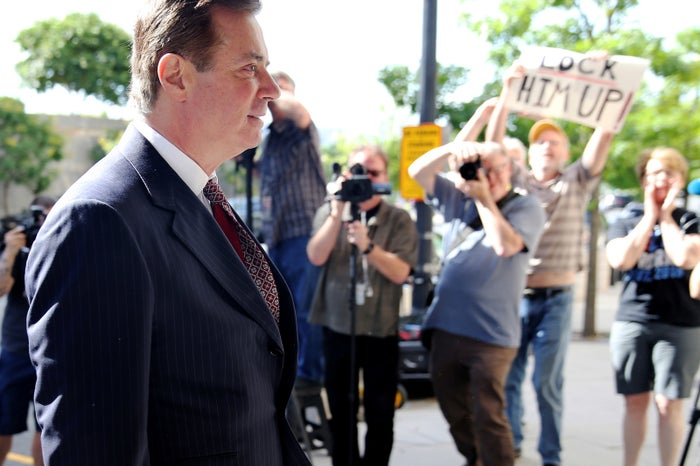 Paul Manafort arrives at the federal courthouse in Washington, DC, on June 15, 2018.
