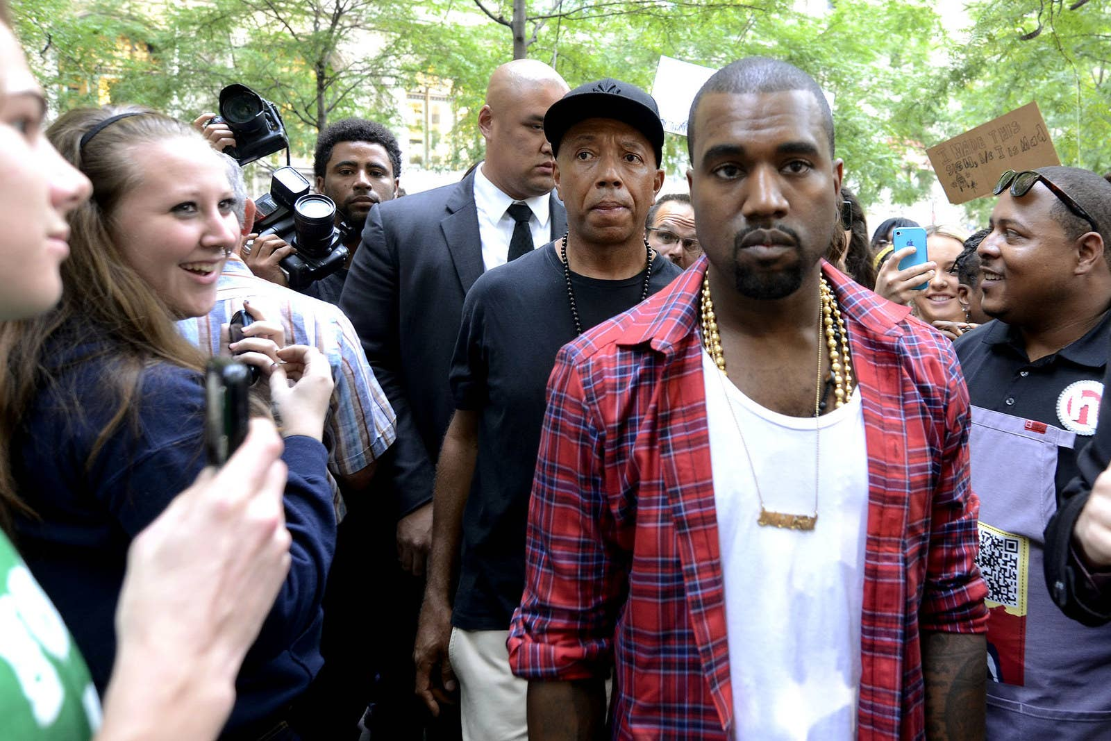 Kanye West and Russell Simmons visit the Zuccotti Park encampment on Oct. 10, 2011.