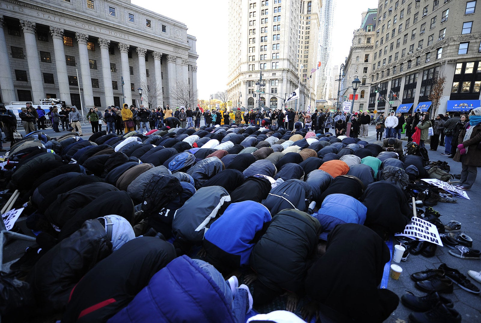 Muslims perform Friday prayers at Foley Square in New York City in support of Occupy Wall Street on Nov. 18, 2011.