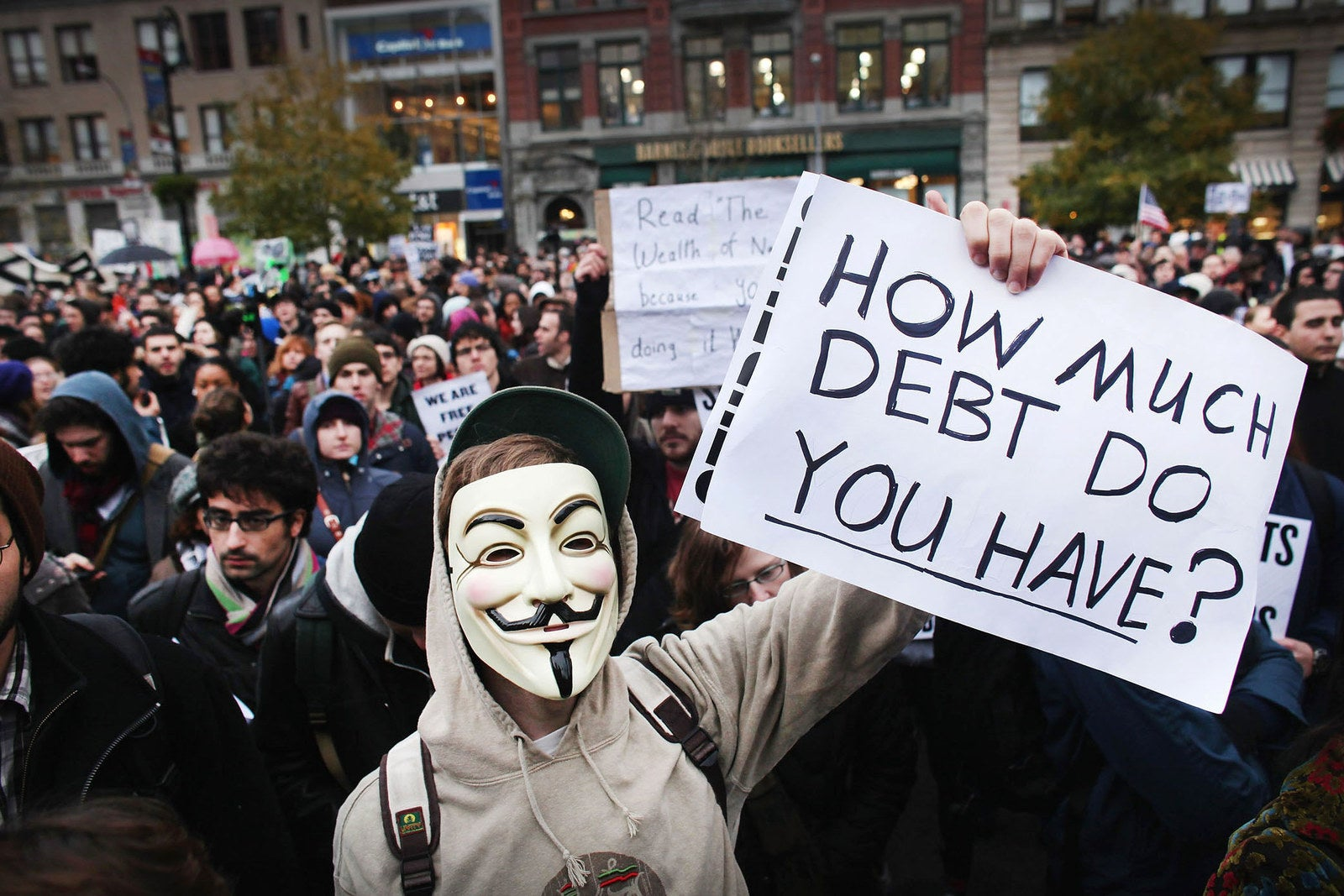 A large gathering of protesters affiliated with the Occupy Wall Street movement attend a rally in Union Square on Nov. 17, 2011.