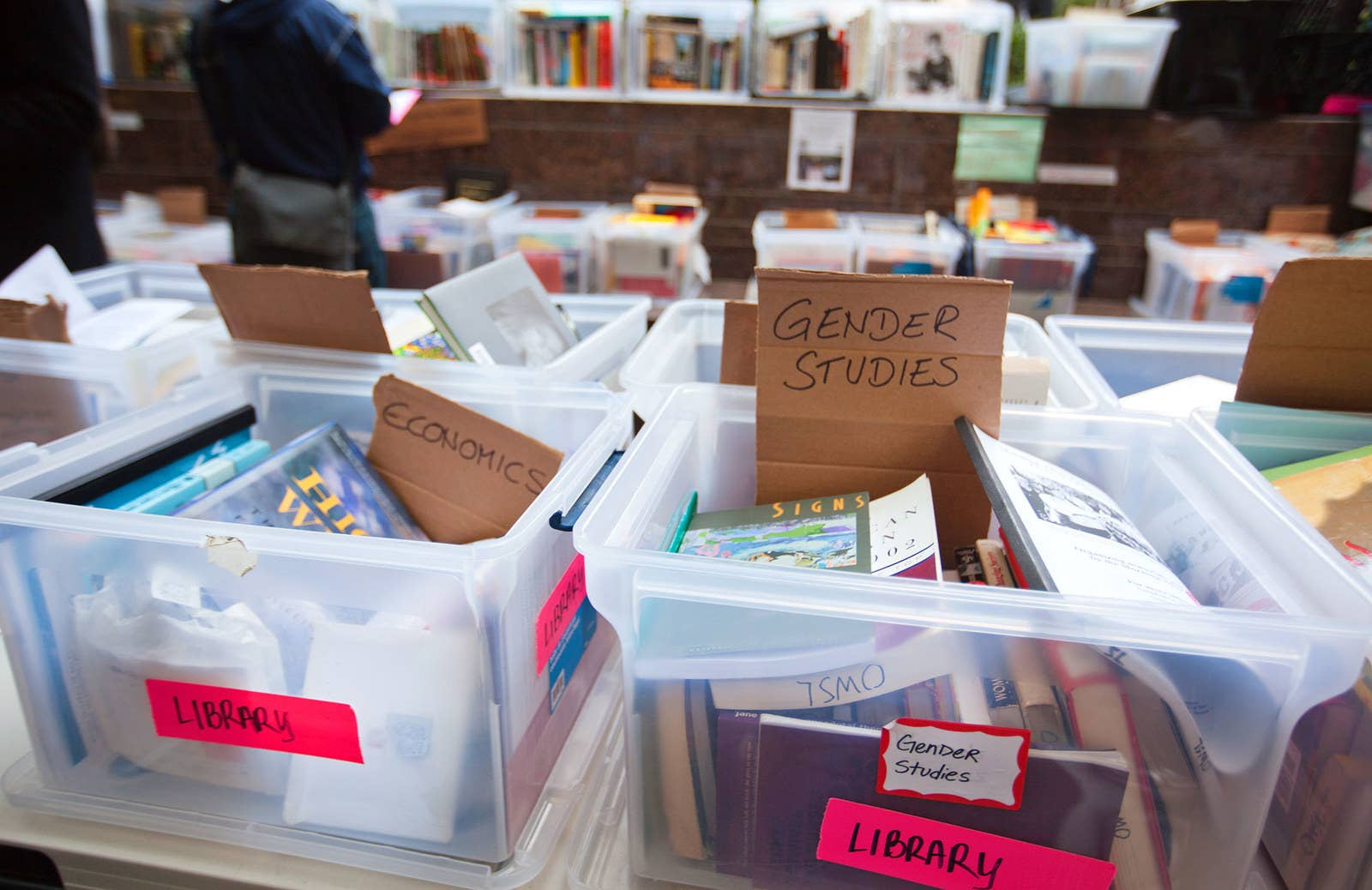 Books are freely available in a library at Zuccotti Park on Oct. 20, 2011.