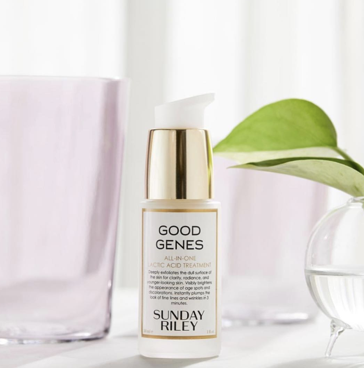 the white and gold lactic acid treatment bottle