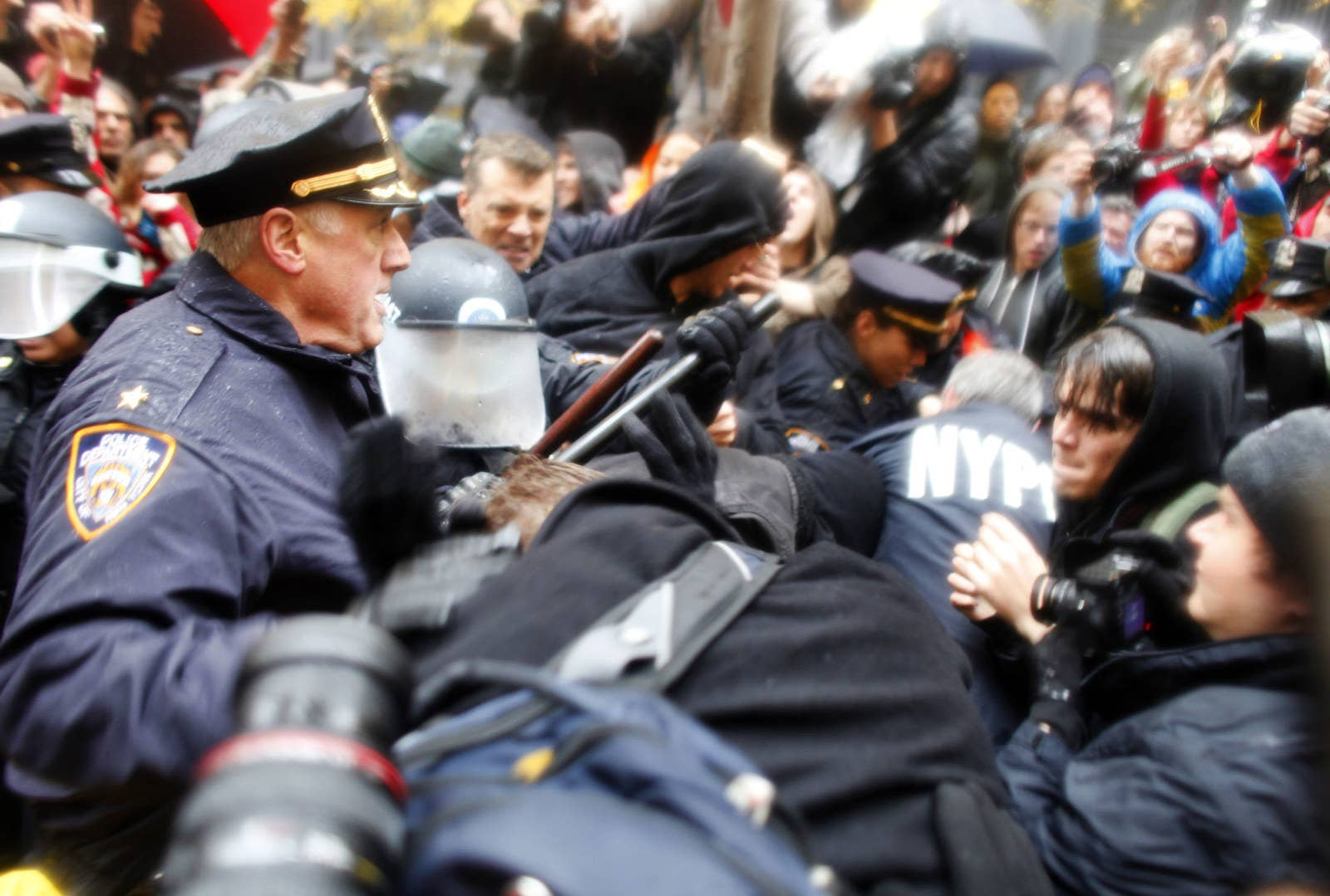 Occupy Wall Street protesters clash with police in Zuccotti Park on Nov. 17, 2011.