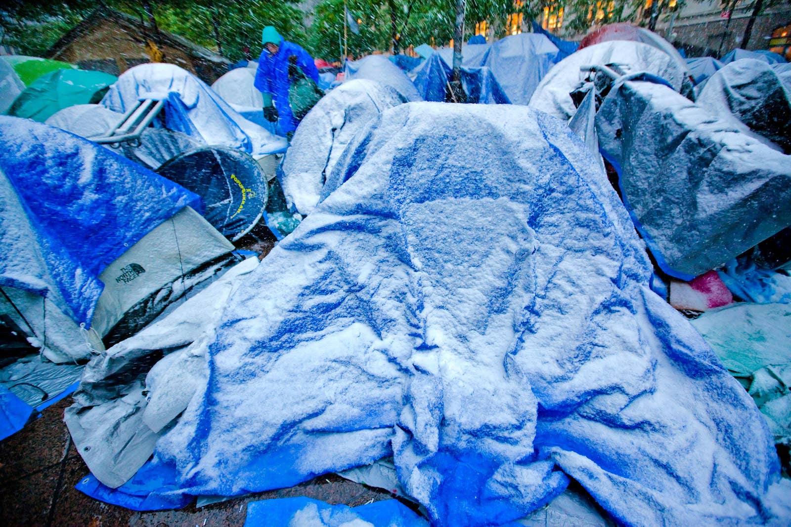A Nor'easter storm coats the Zuccotti Park encampment on Oct. 29, 2011.