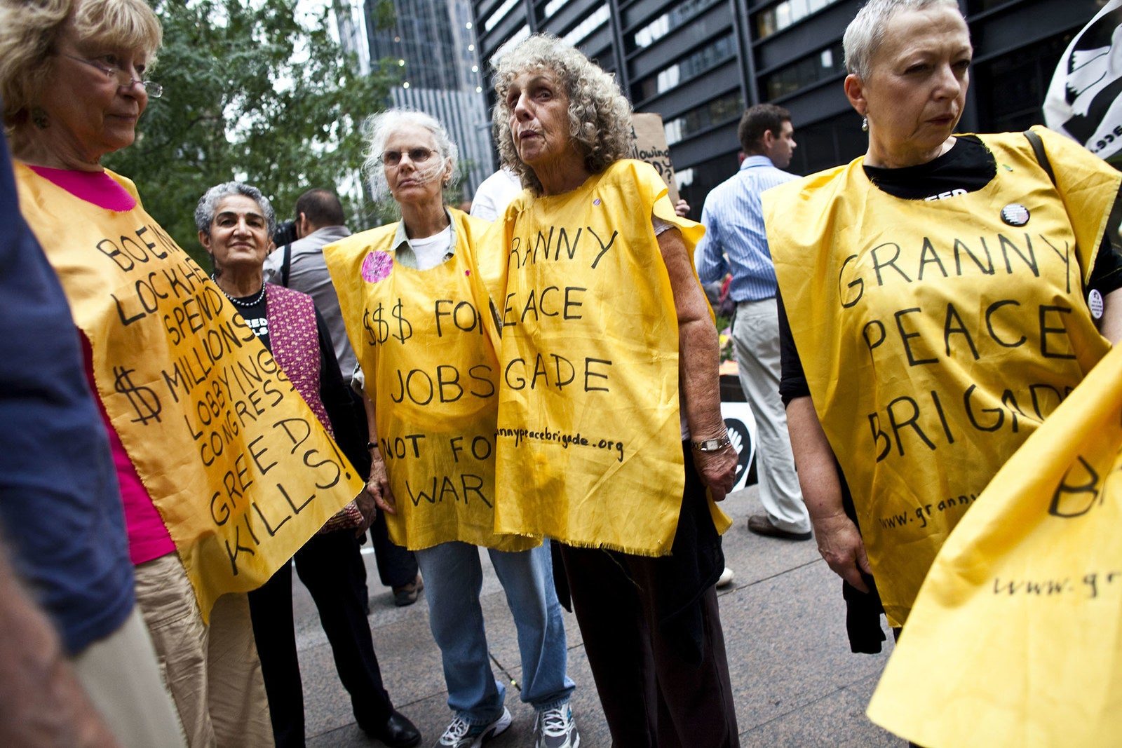 "Members of ""Granny Peace Brigade"" rally against Wall Street at Zuccotti Park on Sept. 28, 2011."