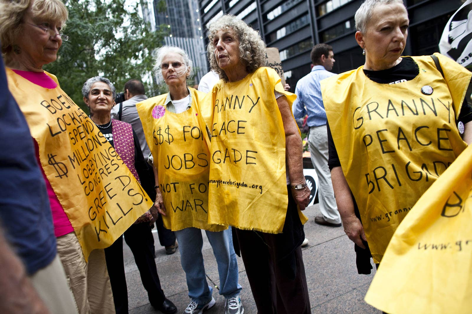 """Members of """"Granny Peace Brigade"""" rally against Wall Street at Zuccotti Park on Sept. 28, 2011."""